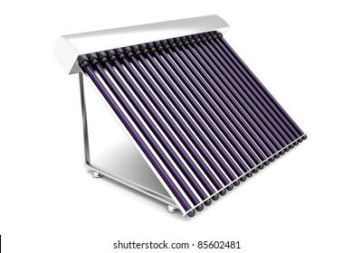 Solar water heater on white background