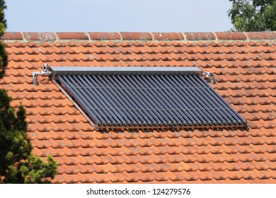 Solar water heating panels on house roof