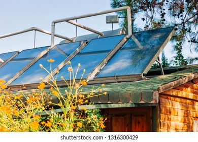 Solar water heating system on roof - Cirali, Antalya Province, Turkey, Asia