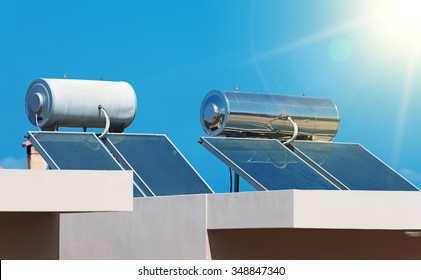 Solar water heating system on the rooftops.