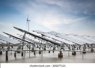solar and wind power in coastal tidal flats ,green energy concept
