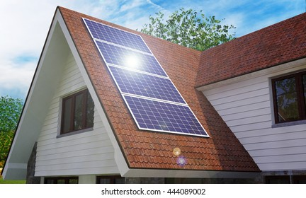 Solar an Wind Power House 3d concept, Solar Panels With Lens Flare, Renewable Energy House, Solar Thermal Energy System,  House With Alternative Energy Sourses, Solar Panels On a Roof - 3D Rendering