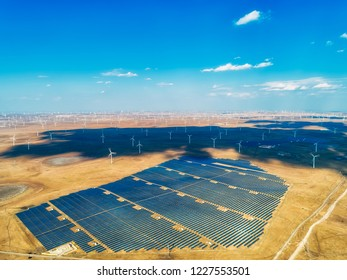 Solar and wind power station aerial photography