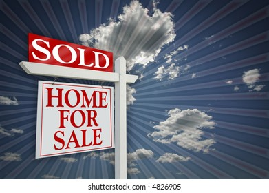 Sold Home For Sale sign, Clouds & Burst Background - Ready for message. See my theme variations.