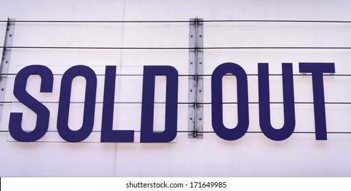 Sold out billboard on a concert venue in blue on white background