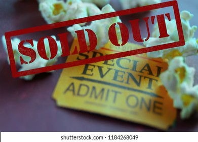 Sold Out ticket stub for Special Event with popcorn