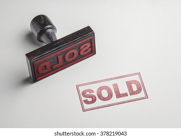 Sold printing red stamp and imprint