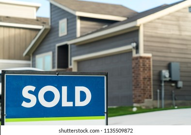 Sold. Real estate housing market. Homes and houses for sale in Austin , Texas , USA as the housing market grows worries of a bubble pop is coming. Gray modern new construction home