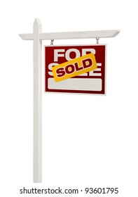 Sold For Sale Real Estate Sign Isolated on a White Background - Facing Right.