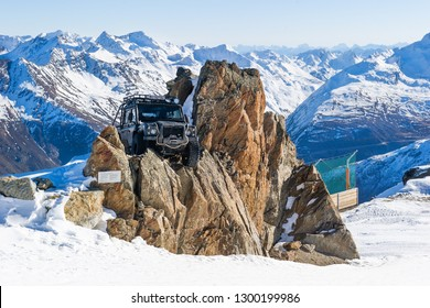 SOLDEN, AUSTRIA - NOVEMBER 16, 2018: Land Rover Defender from James Bond movie Spectre near Solden, Austria, November 16, 2018.