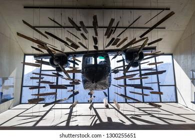 SOLDEN, AUSTRIA - NOVEMBER 16, 2018: Crashed airplane from James Bond film Spectre in Gaislachkogl mountain near Solden, Austria, November 16, 2018.