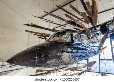SOLDEN, AUSTRIA - NOVEMBER 16, 2018: Crashed airplane from James Bond film Spectre in Gaislachkogl mountain near Solden, Austria, November 16, 2018.