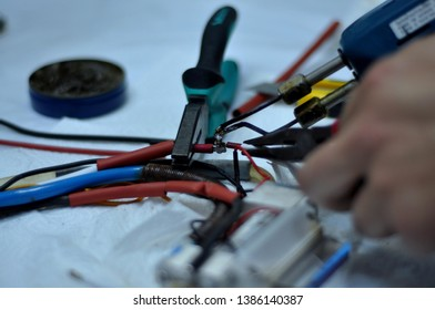 soldering and maintenance and repair work at the workshop