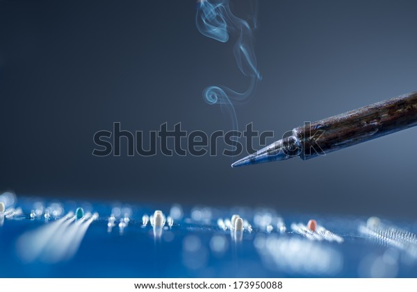 Soldering, shallow DOF, focus on the tip, text space
