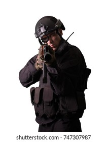 soldier with ak 47 talking on the radio and shooting