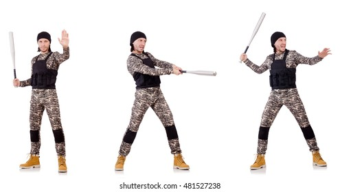 Soldier with bat isolated on the white background