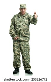 Soldier in camouflage on the white background