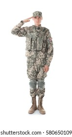 Soldier in camouflage taking salute, isolated on white