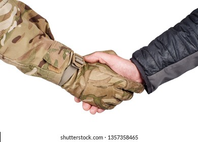 Soldier and civilian shaking hands on white background