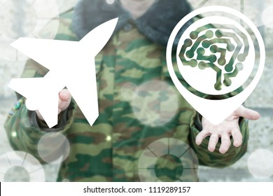 Soldier clicks a fighter button and offers a brain circuit map marker icon. Smart  Flying Machine Unmanned Robotics Technology. Military Jet Aircraft, Reactive Plane Precision Weapons concept.