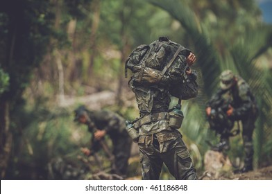 Soldier, Commando, learning martial arts, military training maneuver.
