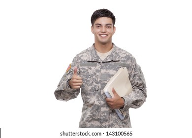 Soldier with documents gesturing thumbs up