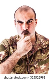 a soldier or drill sergeant blowing a whistle isolated over a white background