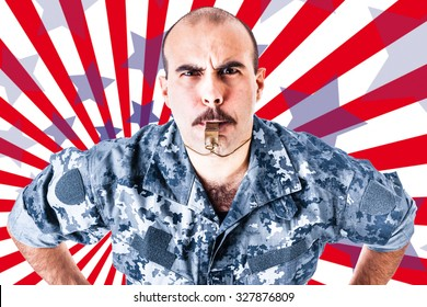 a soldier or drill sergeant blowing a whistle over a striped american backdrop