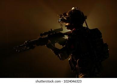 soldier of the elite special purpose unit surveillance