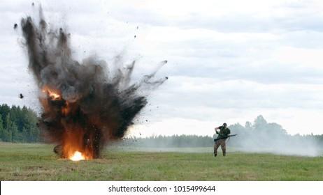 Soldier falls under the explosion. War. Fight scenes