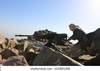 Soldier fighting in the ranks of the legitimate army against Al-Houthi militia in the West of Taiz City, Yemen.