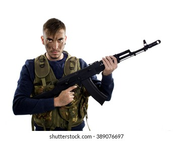 Soldier with firearm, isolated on white background