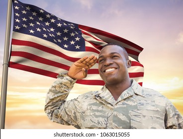 soldier in front of usa flag saluting