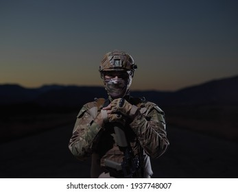 soldier with full combat gear in night mission