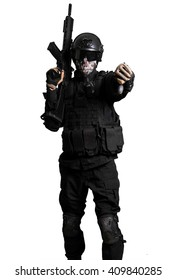 Soldier with a G36K doing negative gesture isolated