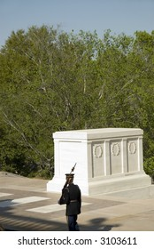 Soldier guarding Tomb of Unknown Soldier at Arlington National Cemetery