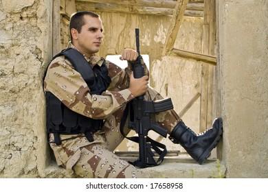Soldier, gun, shot