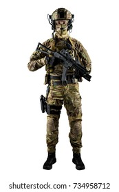 Soldier holding assault rifle. Uniform conforms to special services of the Russian Federation. Shot in studio. Isolated with clipping path on white background