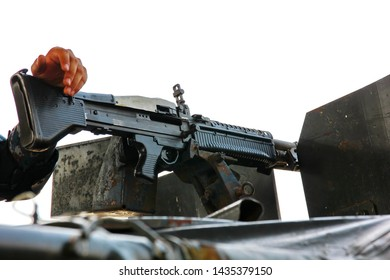 soldier with m16 in preparing moment.m16 with blank plastic cartridge in soldier hand.