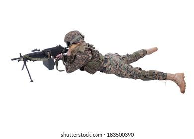 soldier with M249 machine gun