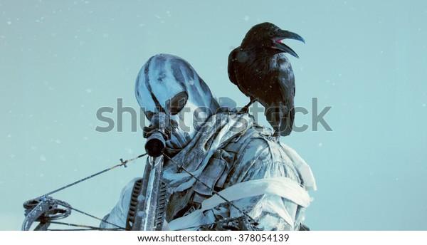 Soldier Mask Raven Crossbow Fantasy Post Stock Photo (Edit
