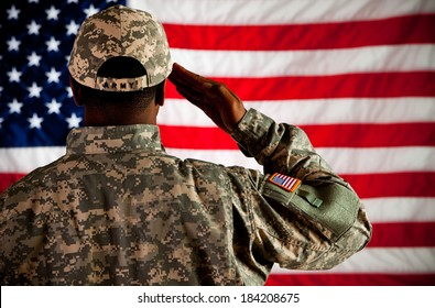 Soldier: Military Man Saluting US Flag