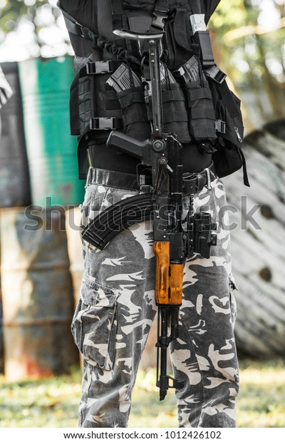 Soldier Military Suit Guns Gears Stock Photo (Edit Now