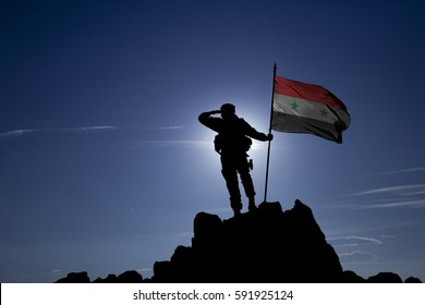 Soldier on top of the mountain with the Syrian flag