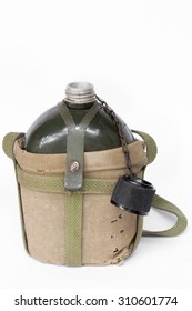 Soldier open flask (canteen) in decay cloth winding