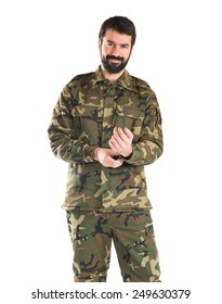 Soldier over white background