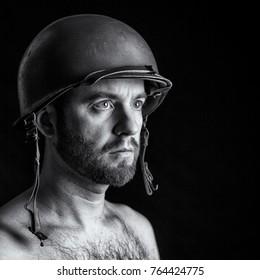 soldier portrait on black background