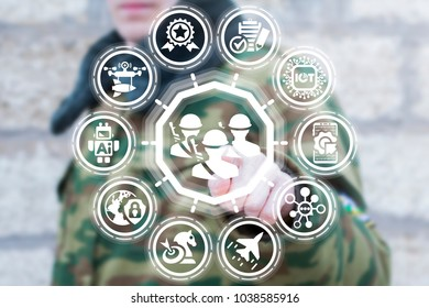 Soldier presses soldiers button on a virtual interface. Modern Military Command Actions. Innovative Army Warfare AI IOT Microchips Information Technologies.
