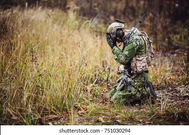 Soldier With PTSD. military, war and emotional concept.