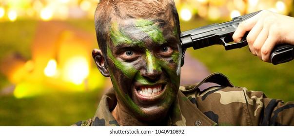 Soldier Putting Gunshot On Head, outdoor